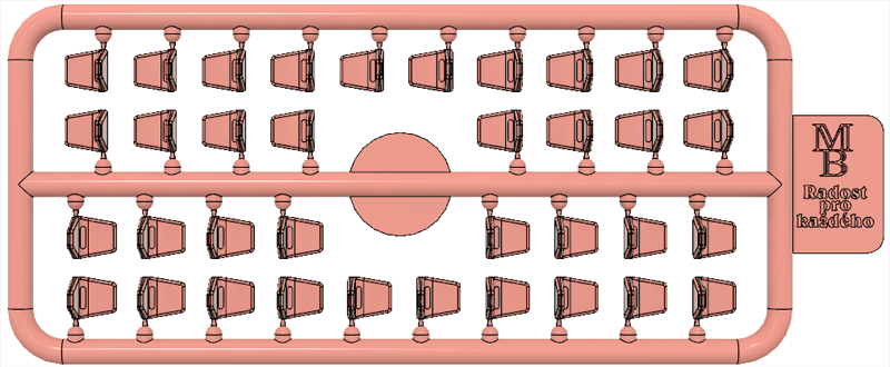 Výlisek sedačky růžové pro tramvaje ČKD Tatra T3SUCS