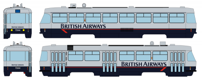 "Tramway model ČKD Tatra T3SUCS with advertising ""British Airways"" (Nr.7244), Ep.VI"
