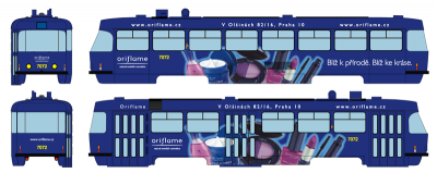 "Tramway model ČKD Tatra T3SUCS with advertising ""Oriflame"" (Nr.7072), Ep.VI"